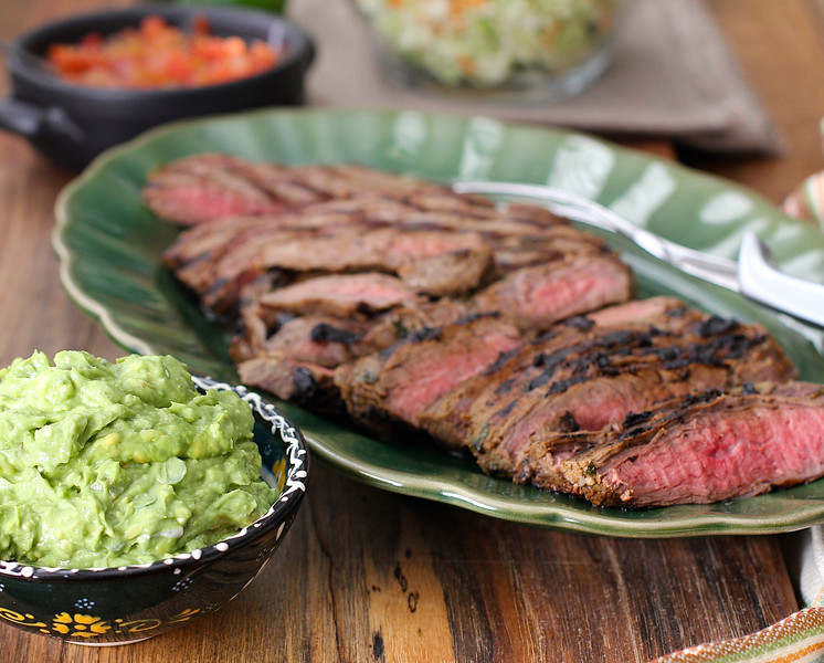 Grilled Marinated Flank Steak with Roquefort and Avocado Spread