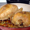 Roast Chicken either on a rack or right in the pan.