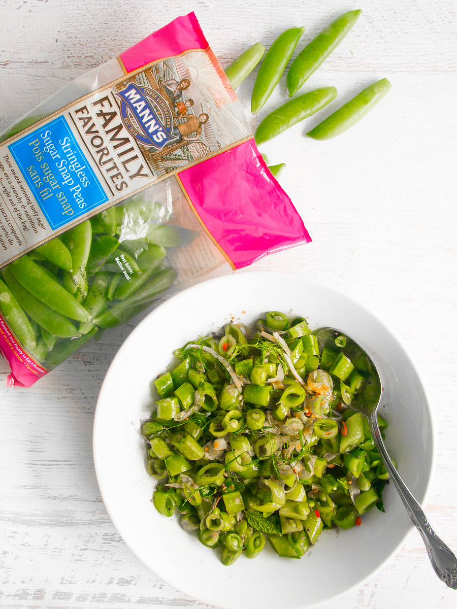 This sugar snap peas recipe uses the classic combination of chili, lemon and mint for a bright salad made in five minutes. Perfect for making in advance.