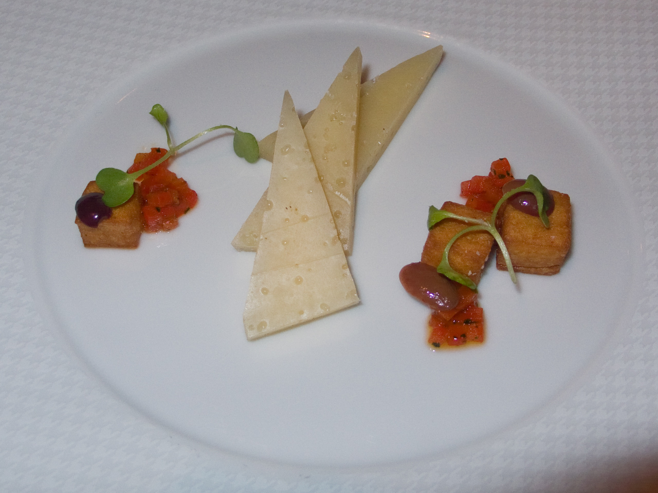 "Chef's Tasting Menu - ""Valli Del Bitto"" : Panisse, Sweet Peppers, Nicoise Olives and Arugula"