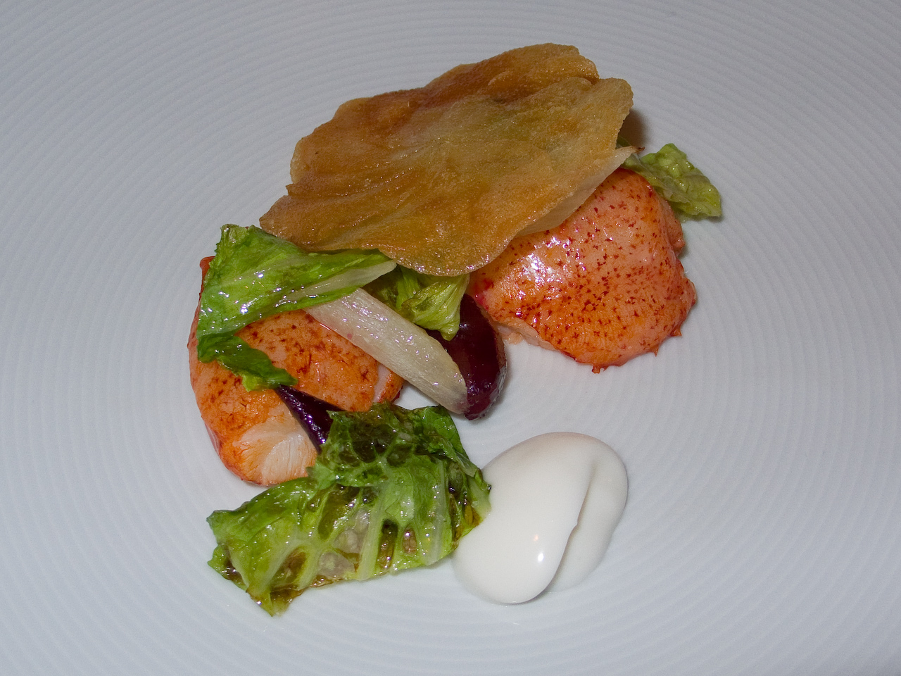 "Chef's Tasting Menu - ""Sweet Butter-Poached Maine Lobster 'Mitts'"" : Beets, Romaine Lettuce, Crispy Potatoes and Horseradish Creme Fraiche"
