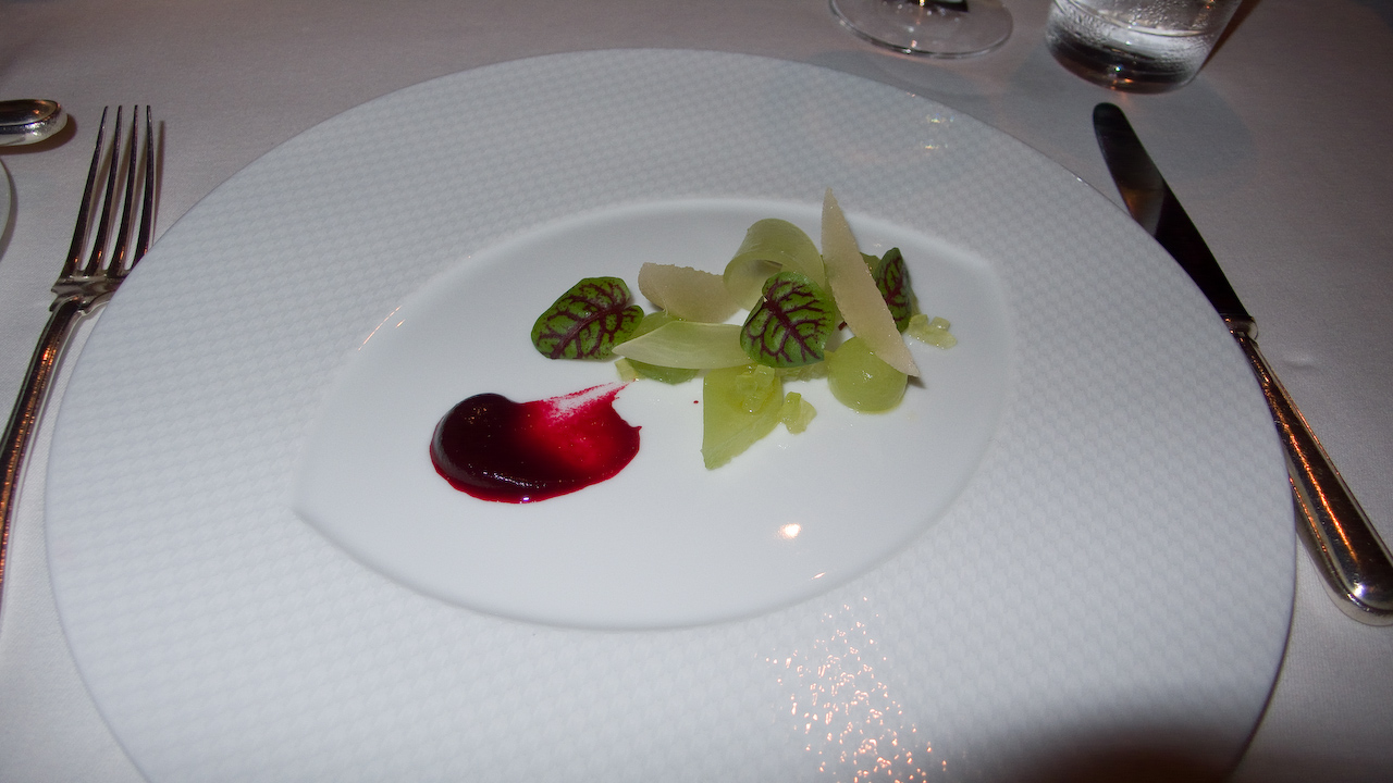 "Vegetable Tasting Menu - ""Salad of English Cucombers"" - Compressed Asian pear, heirloom beets and red ribbon sorrel."
