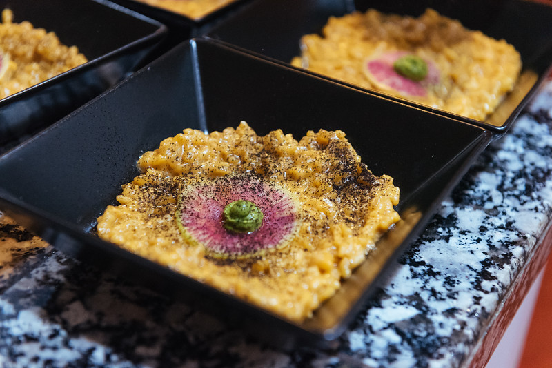 miso risotto with carrot top ash and watermelon radish