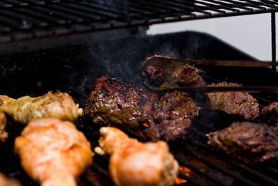 Steak tips and chicken.