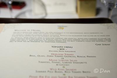 A special $105 heirloom tomato tasting menu