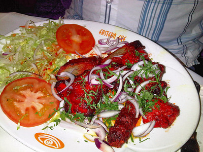 "Tandoori Mixed Grill - Chicken tikka, lamb tikka, sheek kebab & tandoori chicken. £10.89. Served in ""The Eastern Eye"" in Newton Abbot  12/01/12"