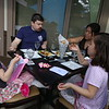 Moonstones restaurant in Chelmsford is open for outdoor dining as part of phase 2 of reopening the economy during the COVID-19 pandemic. Shawn and wife Tomoko Patterson of Chelmsford, eating with daughters Mae, 5, left, and Hannah, 7. (SUN/Julia Malakie)