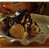 Incredible Vanilla Ice Cream with Meringues and Hot Chocolate Sauce