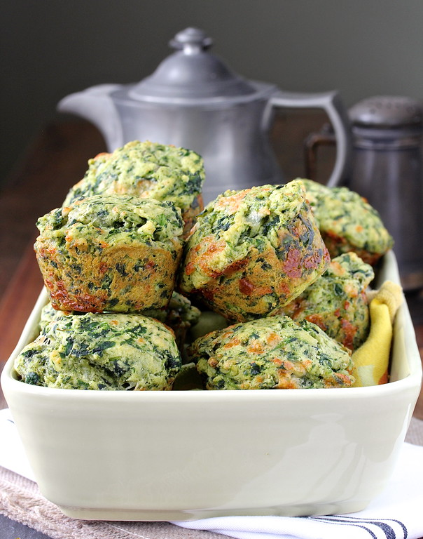 These Muffins Florentine are an amazing savory treat. They are loaded with spinach, mozzarella, and pesto.