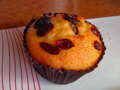 Chocolate Orange & Cranberry Muffin. Served in First Class on Virgin Trains. 21/11/11