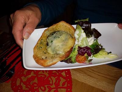 "Garlic and blue cheese mushroom served on garlic focaccia bread with a salad garnish.  Served in ""Jack Sprat's"" in Dawlish  04/12/14"