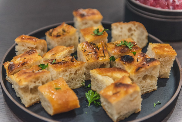 focaccia with herb oil and rosemary
