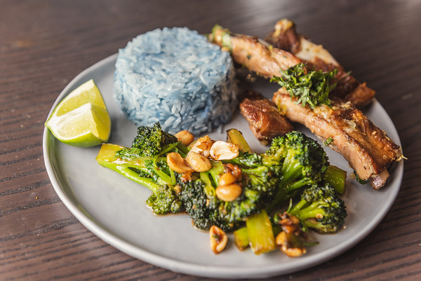 broccoli with oyster sauce and peanuts, sous vide pork ribs with thai basil and kaffir lime, butterfly pea flower rice