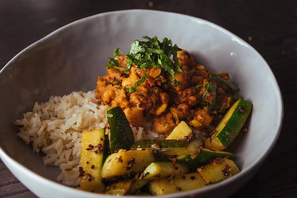 Channa Masala, Spiced Rice, Mustard Seed Zucchini