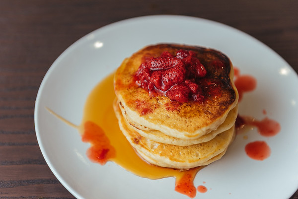 Buttermilk Pancakes with strawberry compote