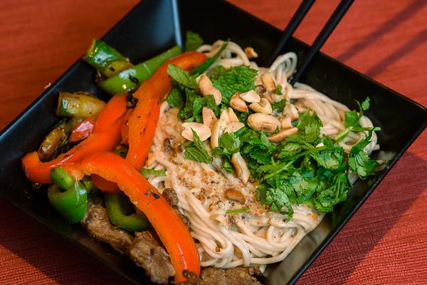 Sichuan Dan Dan Noodles with wok-fried beef and veggies