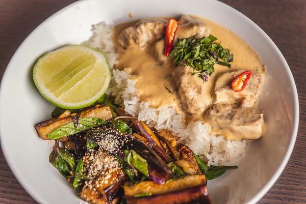 pork belly red curry, basil eggplant