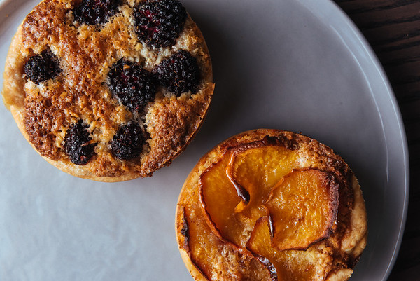 Peach and Blackberry Nougatine Tart
