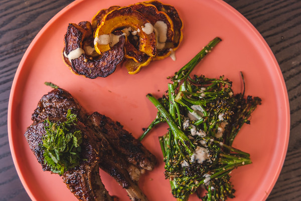 Lamb chops, roasted delicata squash, broccolini