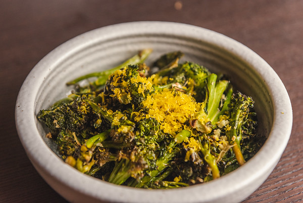 roast broccolini with cured egg yolks