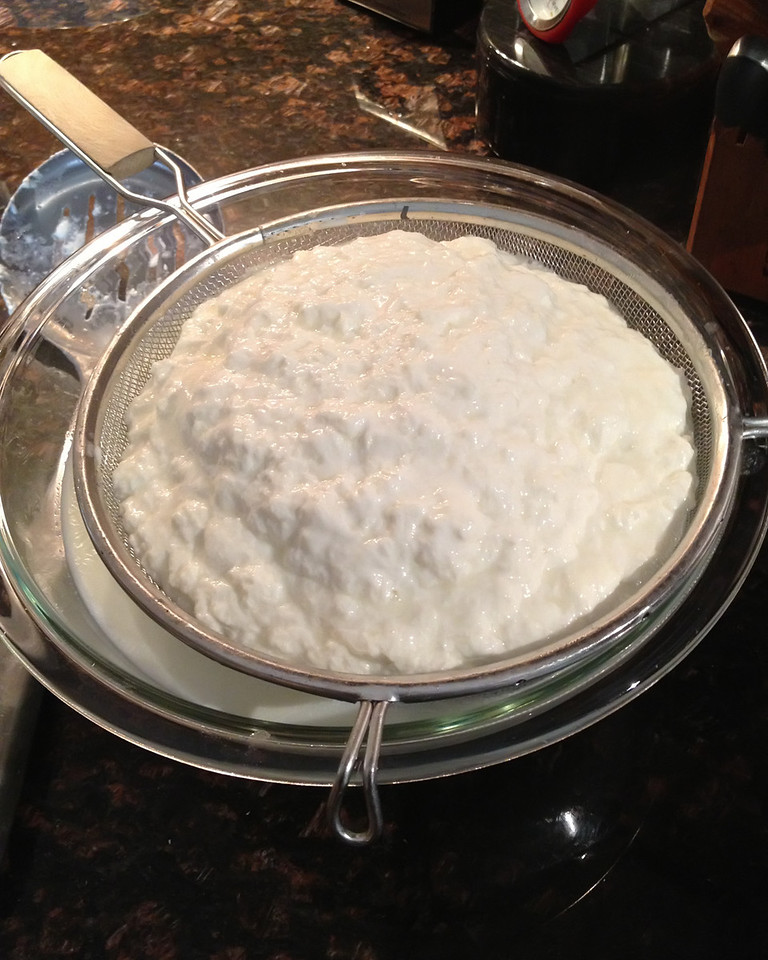 Wrap the ball in cheesecloth. Make sure there's enough whey in the bowl to soak it in, and refrigerate it until you need it. You can make this the night before if you want.