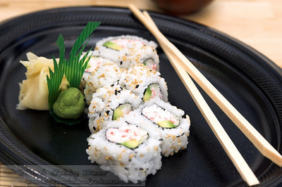 California sushi roll with wasabi and pickled ginger