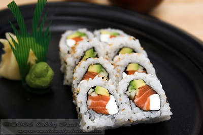 Philidelphia sushi roll with wasabi and pickled ginger
