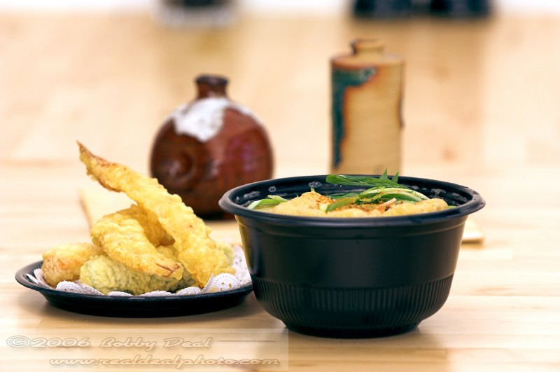 Fresh Shrimp Tempura and hot noodle soup ready to eat