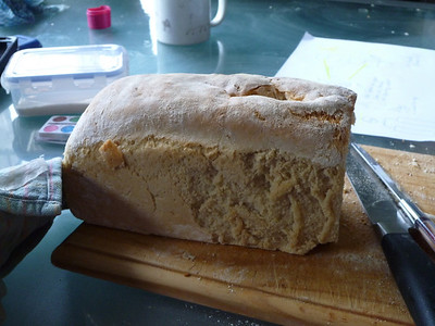 This was my first loaf of bread, made in a heavy tin. It didn't really cook well enough on the bottom, need to turn it around a couple of times.