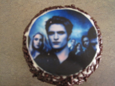 Devil's food cupcake with butterdream frosting and chocolate jimmies.  And of course, Edward's face!