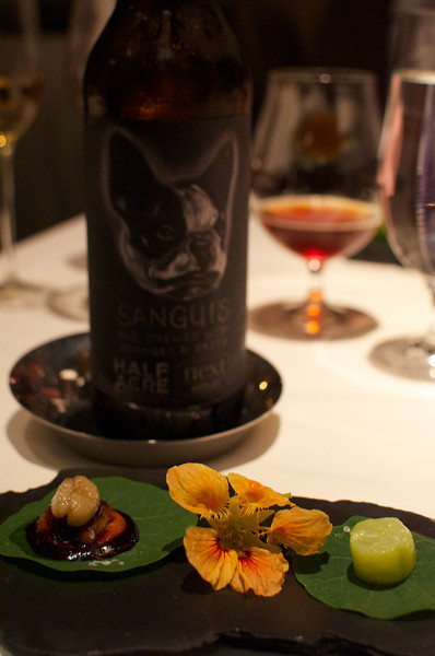 Nasturtium with Eel, Bone Marrow, and Cucumber (2007) | Sanguis (Half Acre's 2012 Special Brew specifically for Next. - Label design by Phineas X. Jones)