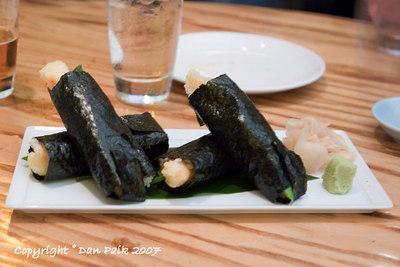 shrimp tempura handrolls