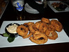 "Panko Crusted Onion Rings with chili mayo dip. C$8.99.  Served in ""Crossings"" in London, Ontario  29/01/14"
