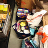 Some of the 500 lbs of food brought by Lowell Democratic City Committee chair Judith Durant, and Ward 2 chair Sally Coulter, to the Open Pantry of Greater Lowell, on behalf of the Lowell Democratic City Committee.  (SUN/Julia Malakie)