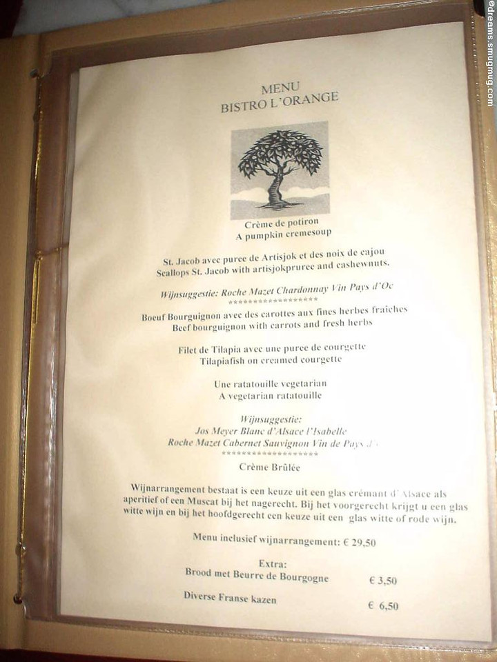 The opening menu of Bistro l'Orange