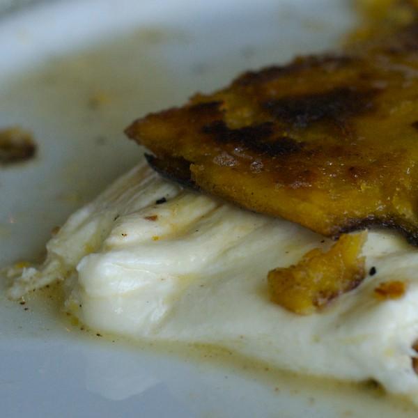 Cachapa- Traditional Venezuelan corn pancake with melted guayanés cheese- Orinoco Brookline