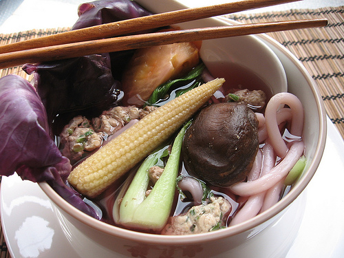 Red Cabbage Udon Noodle Soup
