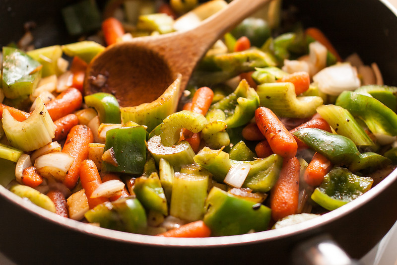 Stir your vegetables around and let them sweat a little bit.