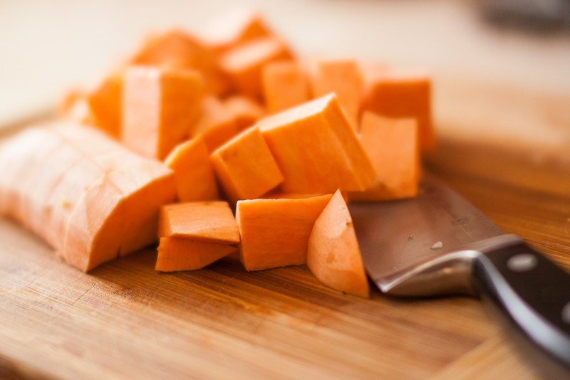 After 90 minutes of simmering, add your diced sweet potato to the pot.  Simmer for an additional 30 mins.  Don't let your sweet potatoes disintegrate, as they tend to do after long amounts of simmering.