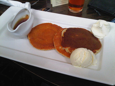 "Pancakes with ice cream and maple syrup. Served in ""Weatherspoons"" 27/02/12  (Photo by: S Thew)"