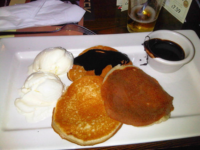 "Pancakes, Served with Ice Cream & Chocolate Sauce. Served in ""Weatherspoons""  24/01/12"