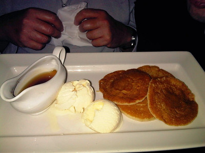 "Pancakes with ice cream & maple-flavour syrup.  Served in ""Wetherspoons""  04/12/12"