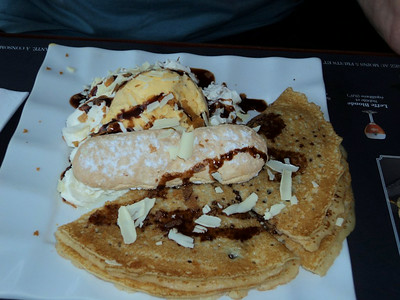 "Crêpe - Nutella, chocolate chips, a scoop of ice cream, vanilla, chocolate sauce, whipped cream.  Served in ""Au Bureau""  10/06/14"