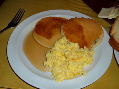 Pancakes with scrambled eggs