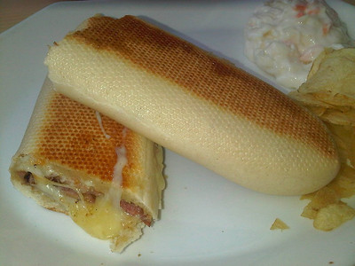"Cheese & Bacon Panini. £3.95. Served in ""Cafe Babbs"" in St Marychurch, Torquay  21/05/14"