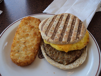 "Sausage, Egg & Cheese Panini with Hash Brown.  Served in ""Tim Hortons""  07/02/14"