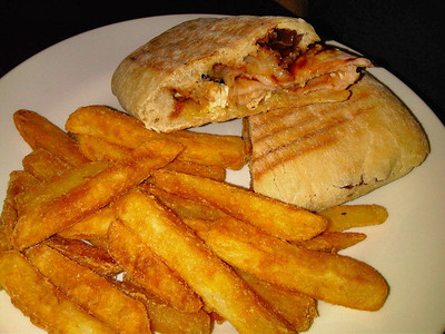 "Chicken & Bacon Panini & chips. £5.10. Served in ""Wetherspoons""  06/03/12"