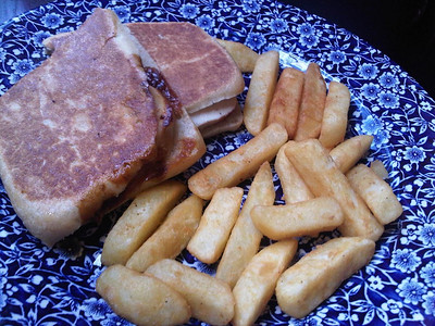 "Chicken & Bacon Panini & chips. Served in ""Wetherspoons""  21/06/14"