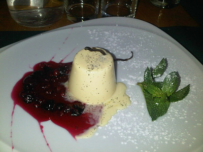 "Panna Cotta - Cooked Cream wth Forest Fruit Sauce. £5.00.  Served in ""Fresco"" in Teignmouth  10/07/14"