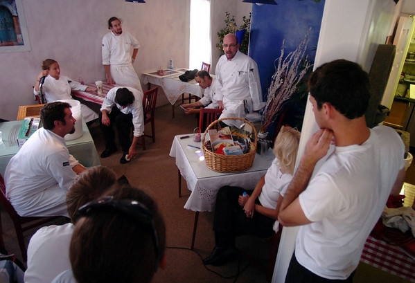 Chef Michael Scott, center, briefs the students on what they will need to take to Zephyros Farm.<br /> Students from the Culinary School of the Rockies spend 10 days in Paonia, Colo. and the surrounding area learning where food comes from.<br /> <br /> <br /> Cliff Grassmick/ September 16, 2008